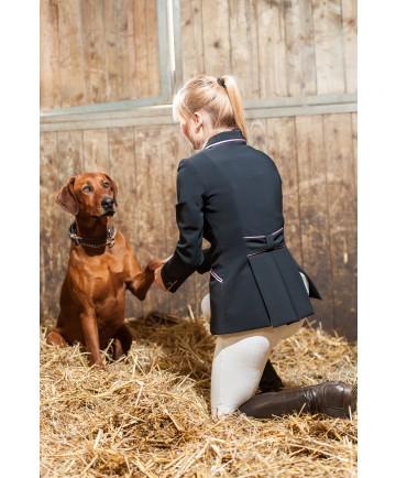 veste soft shell noir bordure rose pâle noeud dans le dos