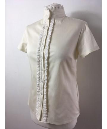 chemise beige à froufrou