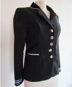 veste taille 40 noir bordure ciel et blanc