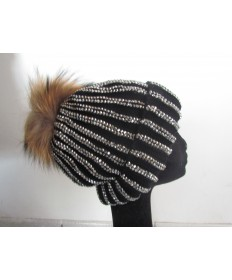 bonnet noir strass