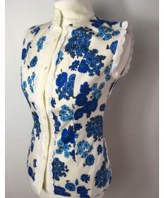 chemisier à fleurs bleu