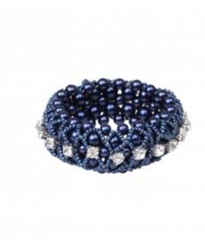 élastique bleu perles