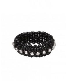 élastique noir  perles et strass