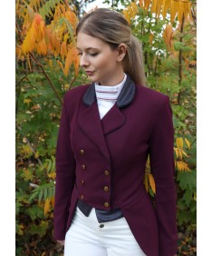 Grape dressage coat with  navy collar