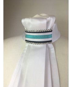 turquoise and navy glitter plastron