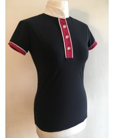 navy and pink polo shirt